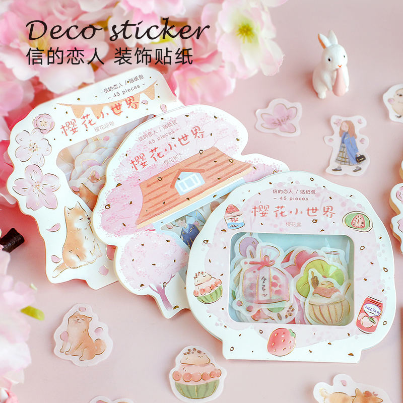 45pcs Romantic Cherry Blossoms Diy Stickers Decorative Scrapbooking Diary Album Stick Label Decor Craft