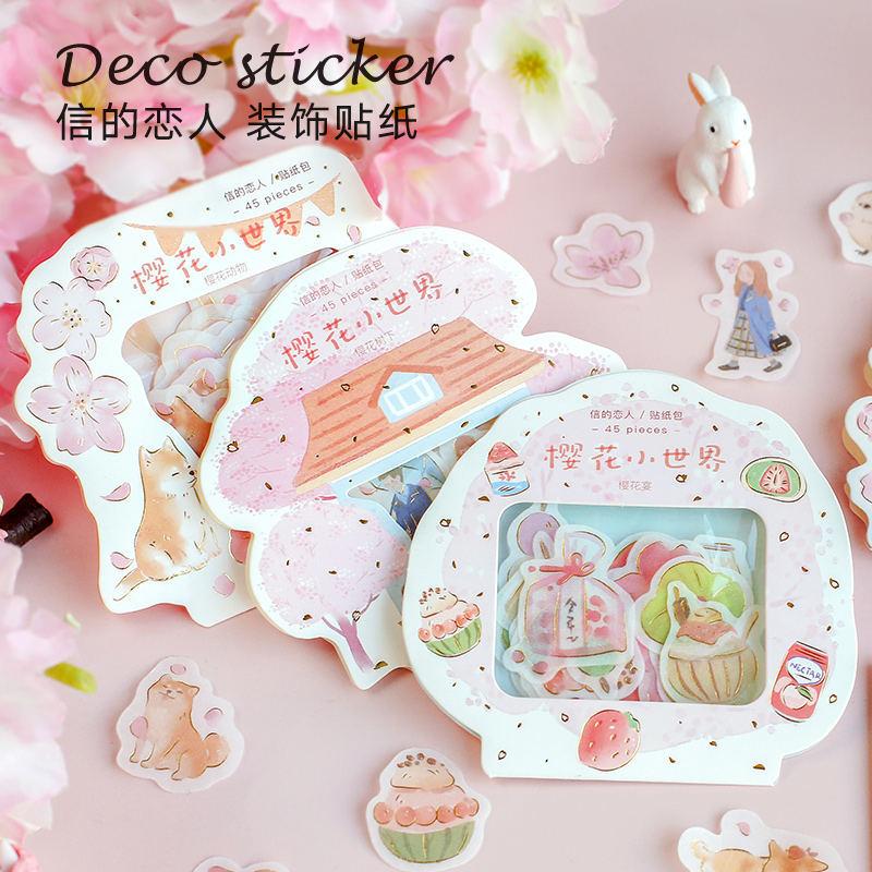 45pcs Romantic Cherry Blossoms Diy Stickers Decorative Scrapbooking Diary Album Stick Label Decor Craft