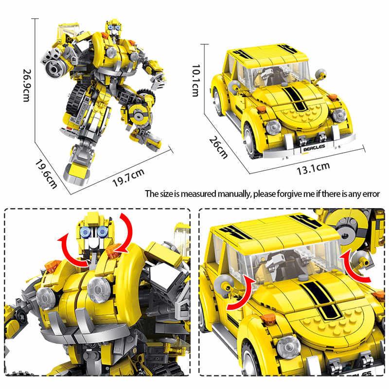 1033 pièces Ville Creatored Déformation Hornet Méca Beetle Voiture 2 Changement Blocs de Bâtiments Legoingly Technique Robot Jouets Pour Enfants