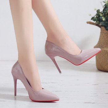 Single shoes women's new style women's shoes autumn European and American style pointed shallow mouth high heel women carpaton autumn and winter new ladies rose red shallow buckle round toe super high heel shoes wedding shoes rose bridal shoes