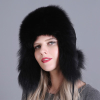 Women Trapper Natural Adjustable Snow Cap Skiing Earflap Warm Thick Bomber Hat Real Fox Fur Autumn Winter
