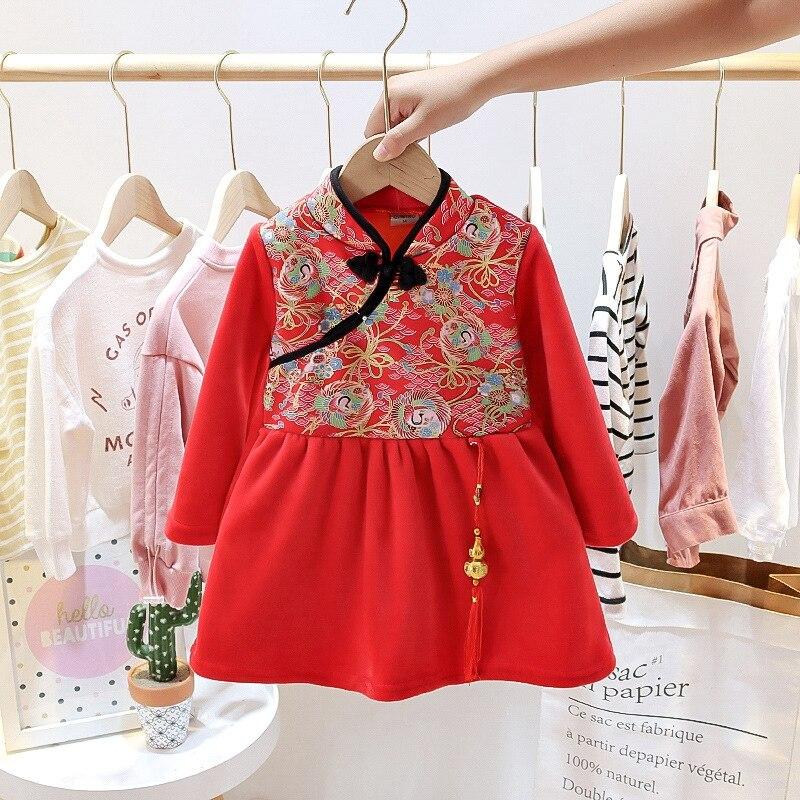Baby Girls Cheongsam Hanfu Dress Embroidered Kids Tangsuit Children Party Outfits Qipao Kids Wedding Dress Costume Gift 3
