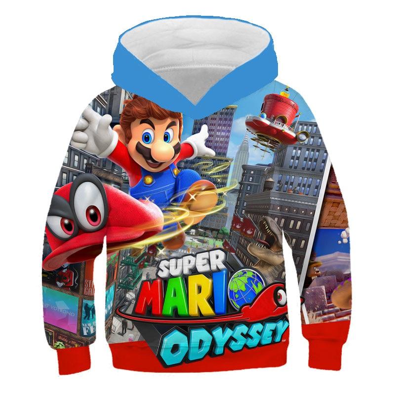 3D print child Hoodie game Super Mario print Cartoon Kids clothing Hooded Sweatshirt fashion Funny Boys