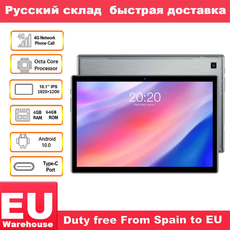 Teclast P20HD 4G Anruf Tabletten Octa Core 10,1 inch IPS 1920 × 1200 4GB RAM 64GB ROM SC9863A GPS Android 10 tablet PC