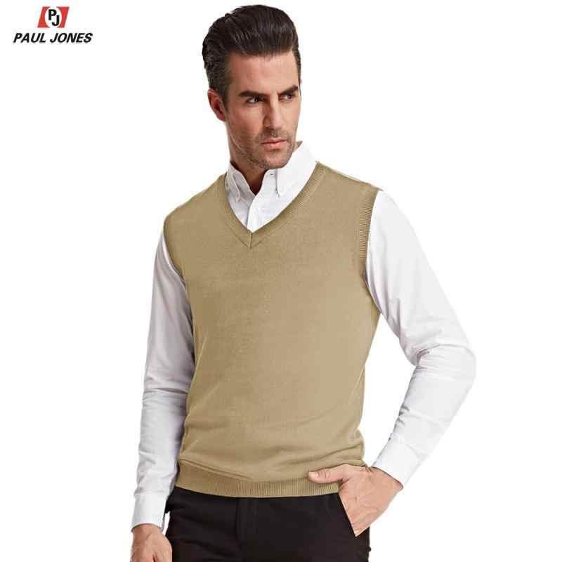 Paul Jones Mannen Klassieke V-hals Knit Vest Mouwloze Trui Effen Kleur Gebreide Trui Slim Fit Jumper Vest Knitwear PJAD1021