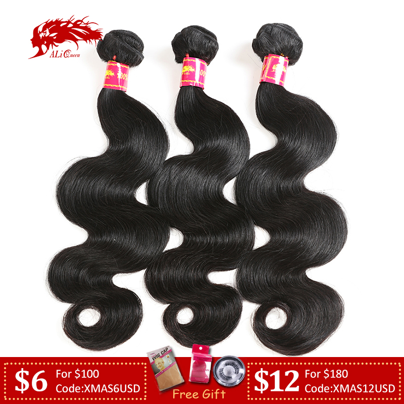 Ali Queen Hair Brazilian Body Wave Virgin Hair Weave Bundles Natural Color P/9A 8-30 Inches 3Pcs 100% Human Hair Weaving