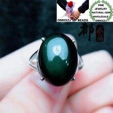 OMHXZJ venta al por mayor ZB478 moda europea mujer de moda fiesta de cumpleaños regalo de boda Piedra Natural obsidiana fina ovalada anillo ajustable