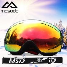 Mosodo óculos de esqui pai criança estilo snowboard anti-nevoeiro polarizado óculos de neve grande esférico homem e mulher óculos de esqui