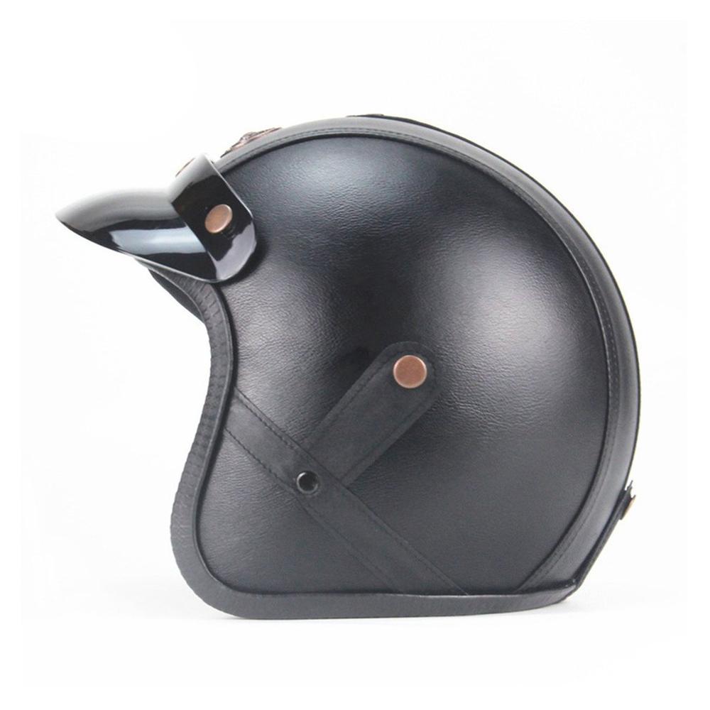 Мотоцикл немецкий открытый шлем Чоппер 3/4 кожаный шлем для скутера половина шлем с черепом Кепка Чоппер поплавок байкер