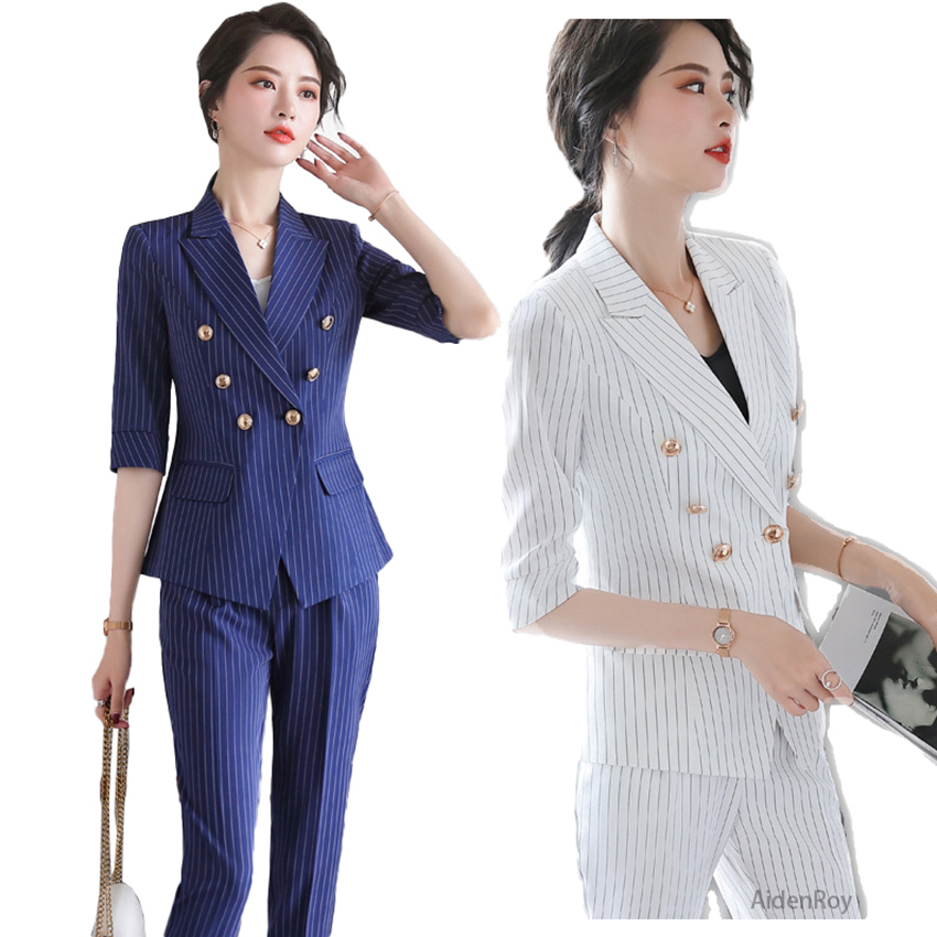 Blue Striped Lday Office Suit Set Summer High End Elegant Women's Suits Blazer With Jacket Trousers Work Wear Pants 2 Piece Sets
