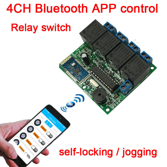 <font><b>4CH</b></font> DC <font><b>12V</b></font> Bluetooth <font><b>relay</b></font> switch <font><b>module</b></font> Self-locking jog wireless remote Modify Bluetooth password name FOR Android APP image