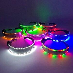 Image 4 - Newly LED Protective Glasses DJ Rave Festival Luminous Party Sunglasses for Birthday Halloween Christmas Polarized Sunglasses