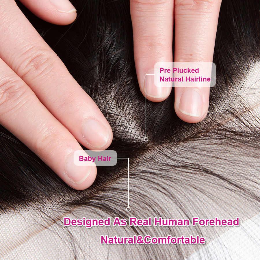Cynosure 13X6 Telinga Ke Telinga Renda Frontal Penutupan Warna Alami Brasil Tubuh Gelombang Frontal 100% Remy Rambut Manusia frontal