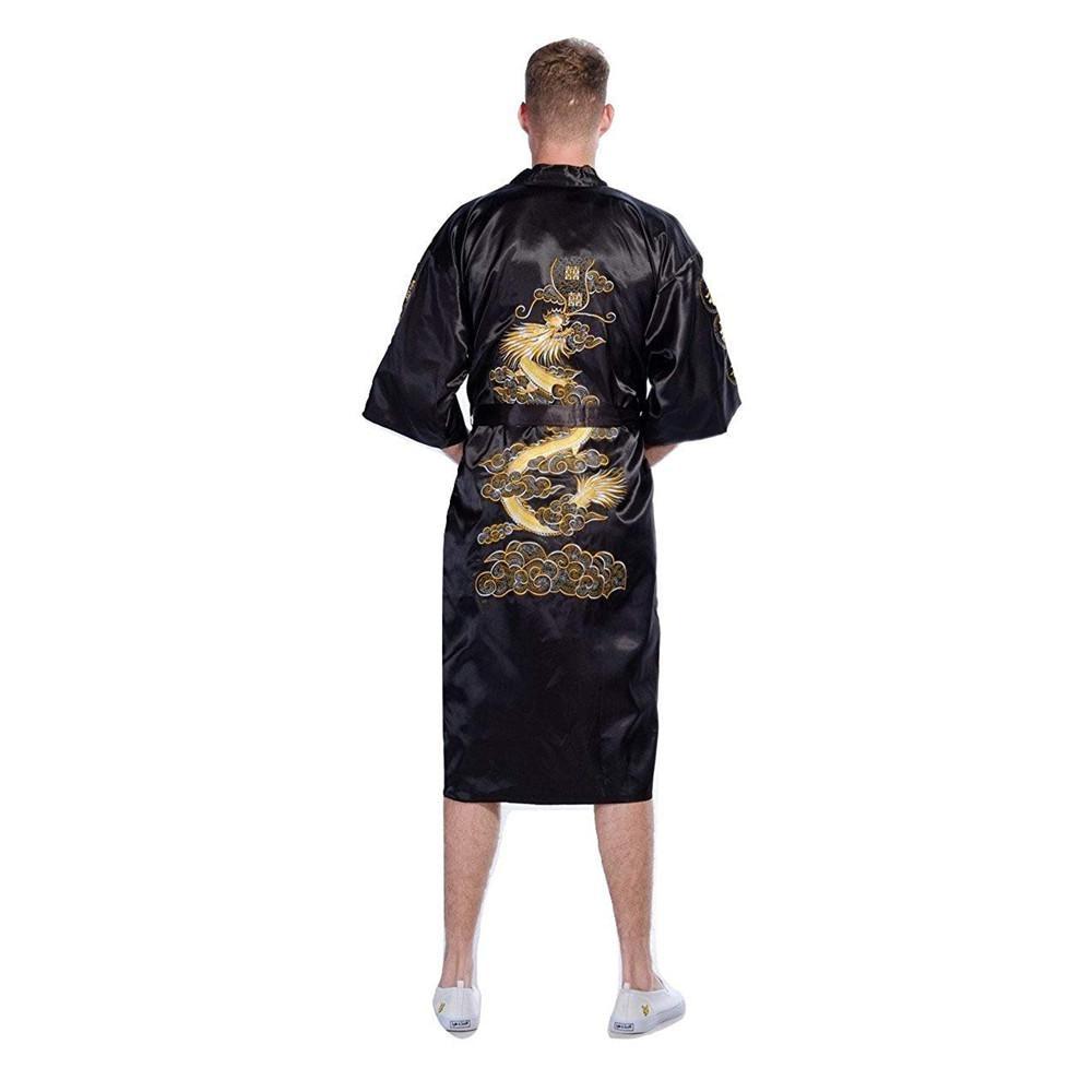 Повседневная мужская пижама с коротким рукавом, кимоно, платье, изысканная вышивка, Свадебный халат с драконом, летняя Мягкая атласная ночная рубашка, домашняя одежда, пижама - Цвет: Black A