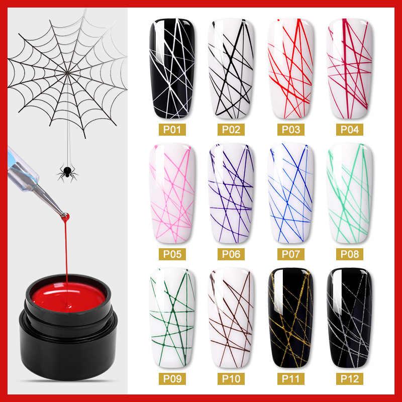עכביש נייל UV ג 'ל ציור Creative נייל אמנות ג' ל פולני חוט ציור גמישות נקודת קו ג 'ל לכה לכה