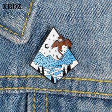 Xedz эмалевая булавка Звездные Крылья Дракон лунный свет пейзаж