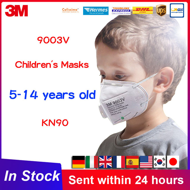 3M 9003V Mouth Mask Children Kid Mask Masks with Breath Valve Filter Breathable Face Mask Child Mask for Kids KN90 9003 Earloop