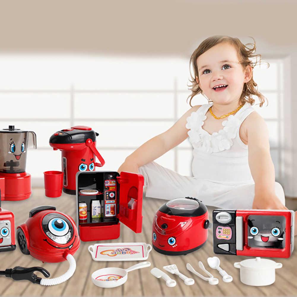 Ev aletleri mutfak oyna Pretend çocuk oyuncakları kahve makinesi tost makinesi Blender vakum temizleyici ocak çocuk için oyuncak oyuncaklar