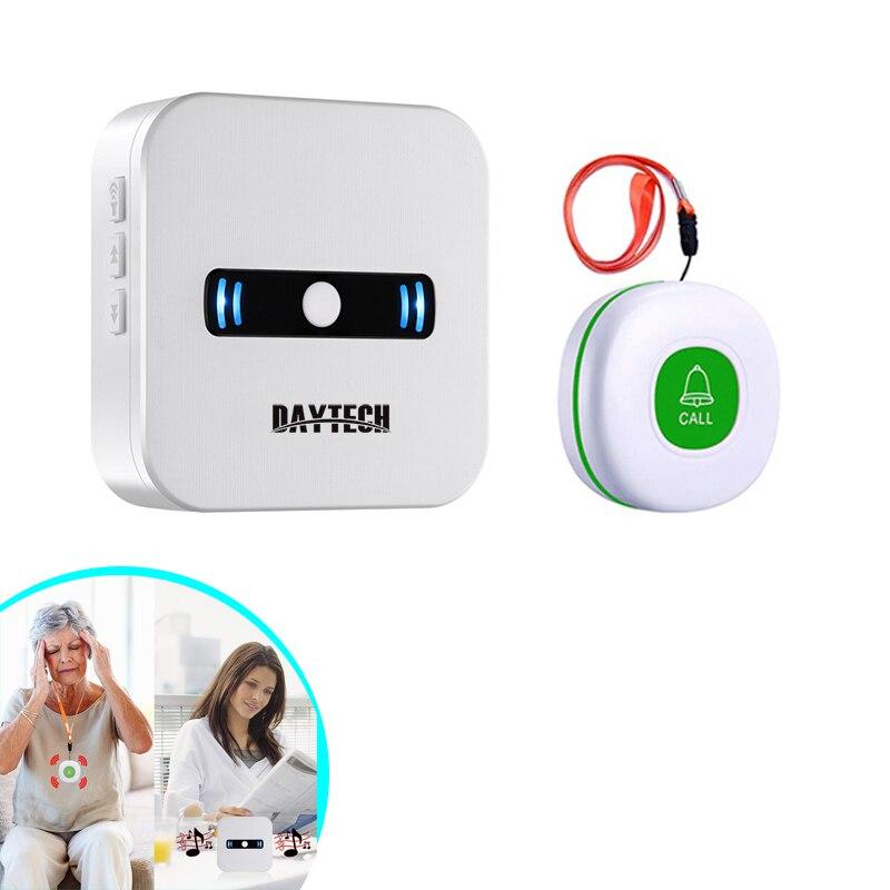 DAYTECH 무선 호출 시스템 간병인 호출기 노인 환자를위한 무선 SOS 통화 버튼 홈 경보 시스템의 개인
