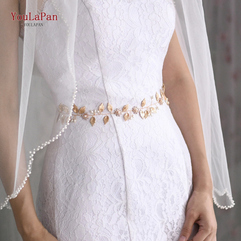 Купить с кэшбэком YouLaPan SH110 Fast delivery Wedding belt accessories gold leaves and alloy flower Thin bridal belts and sashes  for the bride