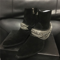 New customized Men Pointed toe luxury chain tassel wedge buckle strap ring harness denim booties
