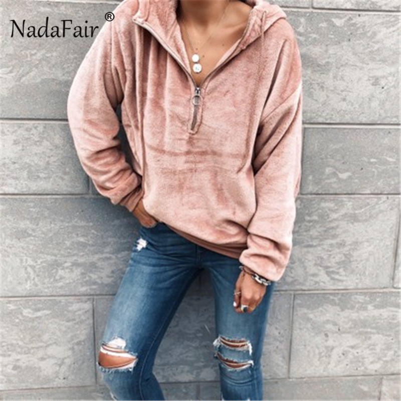 Nadafair Solid Zipper Plush Hoodie Sweatshirt Hooded Winter Hoodie Women Casual S-XL Pullover Fleece Hoodies Female