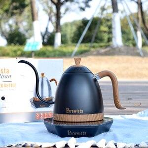 Image 1 - 220 v elektryczny dzbanek do kawy grzywny usta napar dzbanek do kawy wlać kawy czajnik do herbaty gęsiej szyi Pot600ml