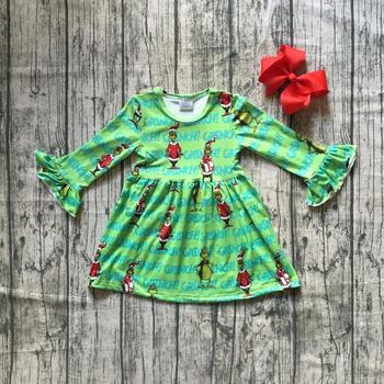 Girlymax Christmas Fall/winter Baby Girls Cotton Chlidren Clothes Milk Silk Green Stripe Twirl Dress Knee Length Match Bow 1