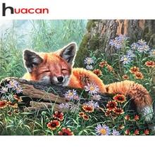 Huacan Diamant Malerei Fuchs Blumen Voll Bohrer Diamant Stickerei Mosaik Wald Kreuz Stich Wand Kunst Wohnkultur