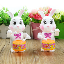 все цены на Toy Musical Instrument Rabbit Drumming Clockwork Wind-Up Toys Children Funny Educational plastic kid to play Game Baby Gift cute онлайн