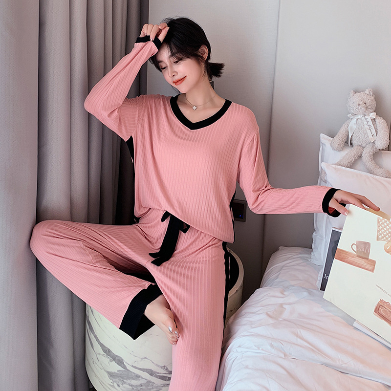 Autumn Newest Pajamas Sets for Ladies Home Clothes Cotton Fabric Pajamas for Women Blue Pink Yellow Colors Pajama Sets Women