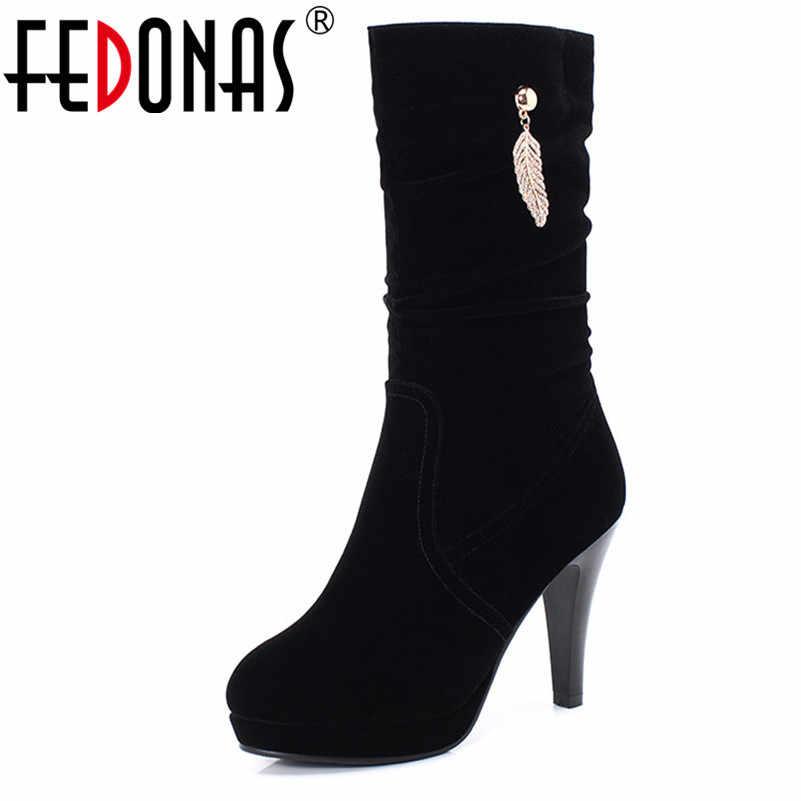 FEDONAS רוקד נעלי פלוק נשים חם סתיו חורף אמצע עגל מגפי חדש אלגנטי לנשף נעלי אישה עקבים גבוהים משרד גבירותיי מגפיים