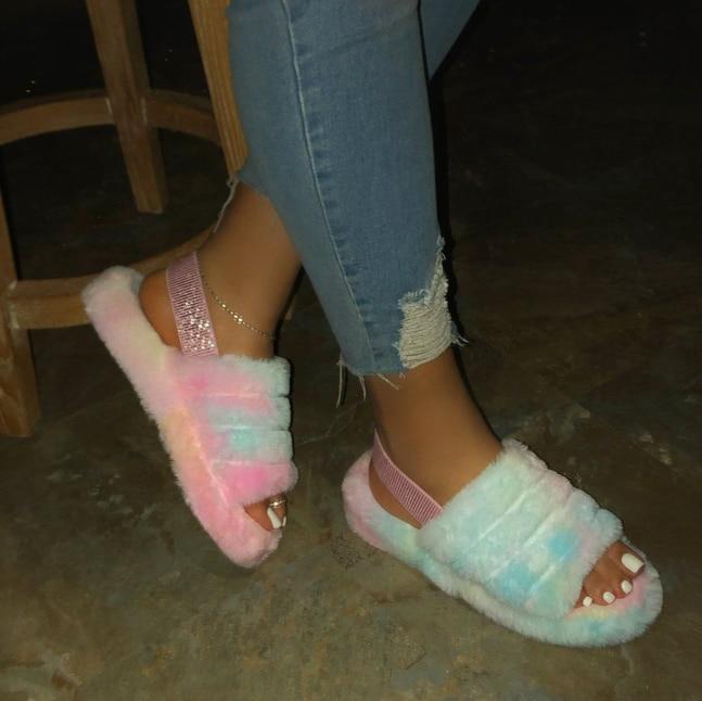 Neue frauen frühling plüsch hausschuhe 2020 ms flachen boden plüsch-rutschfeste innen alle-um bequeme sandalen outdoor freizeit sandalen