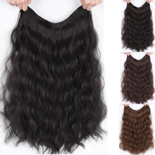 DIANQI 16 Inch Long Black Brown V-Shaped Half Wig Clip In One piece Water Wave Hair Extensions Synthetic Natural Hairpiece