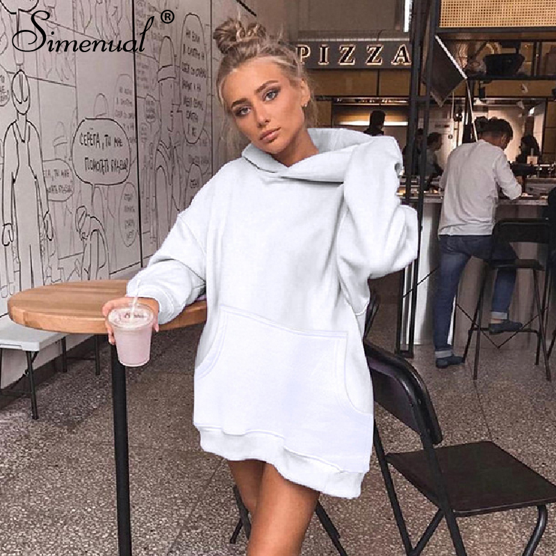 Simenual Casual Sporty Solid Women Hoodies Fashion 2019 Autumn Winter Long Sleeve Sweatshirts Basic Pocket Workout Long Hoody