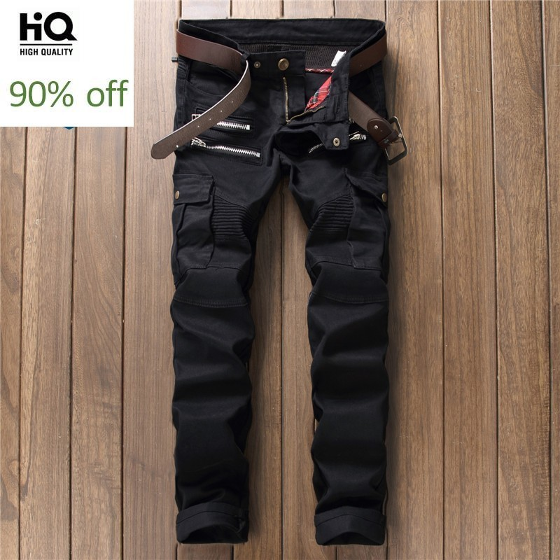 Slim Moto Men's Jeans Zippers Jean For Mens 2020 Male Wear Fashion Famous Brand Denim Pencil Pants For Men Classical Vaqueros