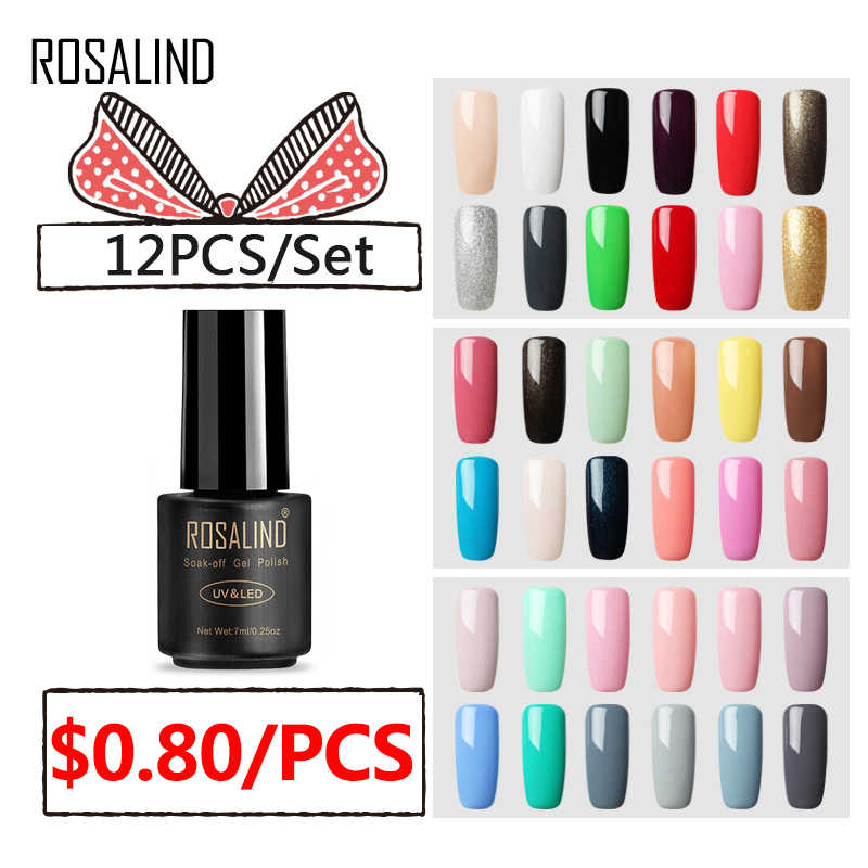 (12 Stks/set) rosalind Gel Nail Polish Set Voor Nagel Uitbreiding Kit Nail Art Gel Lak Acryl Uv Led Lamp Ontwerp Manicure Set