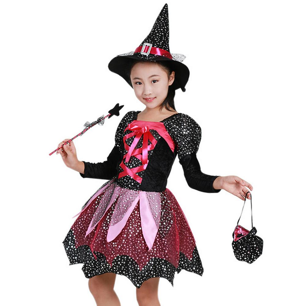 Girls Role Play Dress Outfit Cosplay Witch Skirt Dress Costume with Hat Costume for 8-9 Years Girl Fancy Dress Party Birthday