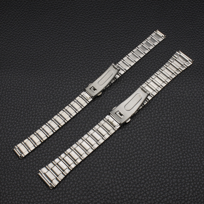 Watch Accessories (Band) Stainless Steel Watch Band Button And MEN'S AND WOMEN'S Handbags Piece Belt Watch Bracelet Plain Top 12