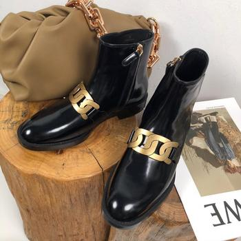 Brand Winter Chelsea Boots Women Patent Leather Women Chunky Heel Platform Winter Shoes Black Short Ankle Boots For Women