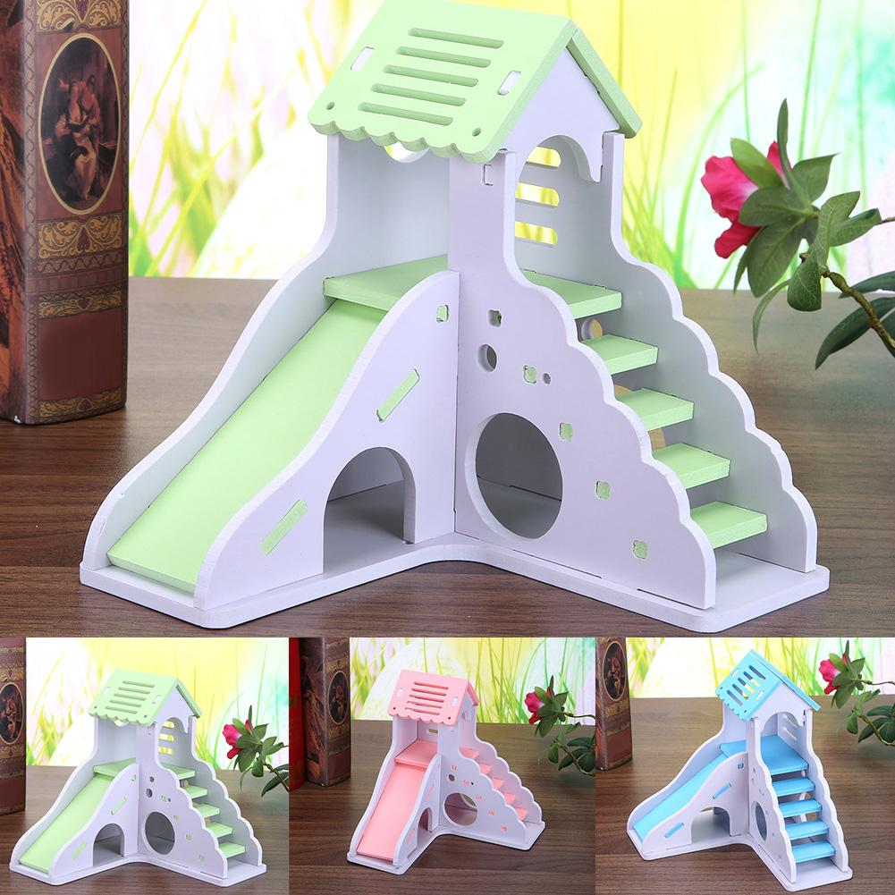 Colorful Mini Wooden Slide DIY Assemble Hamster House Small Animals Pet Toy Supplies