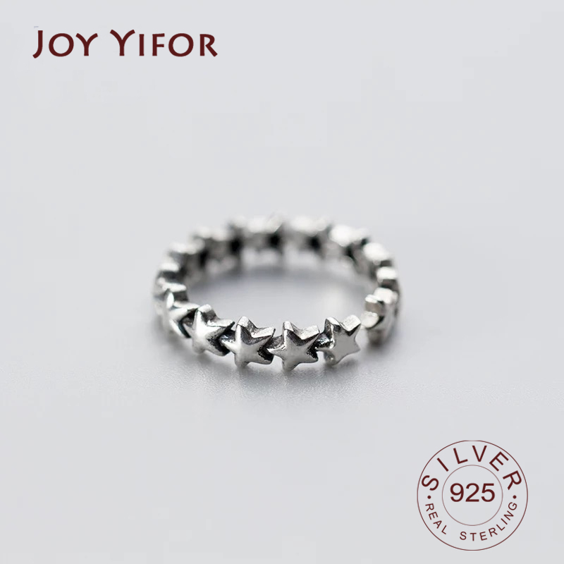 Real 925 Sterling Silver Vintage Star Ring For Fashion Women Cute Fine Jewelry 2019 Minimalist Accessories Gift