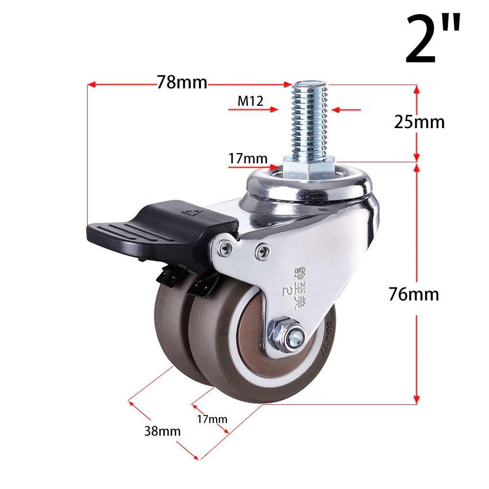 4 pçs/set 2 heavy rodízio de borracha resistente haste giratória rodas m12 x 25mm travamento rodízios rodízios substituição para móveis-5