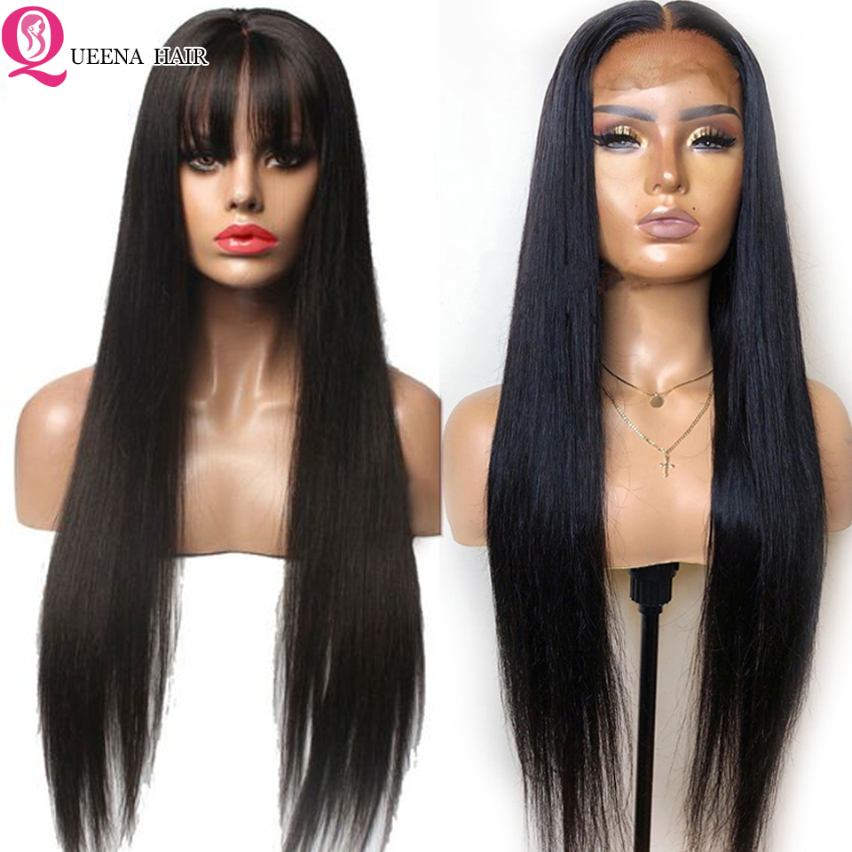 Straight Lace Wig With Bangs 13x4 Human Hair Front Lace Wigs Pre Plucked Brazilian Glueless HD Lace Frontal Wig Bleached Knots