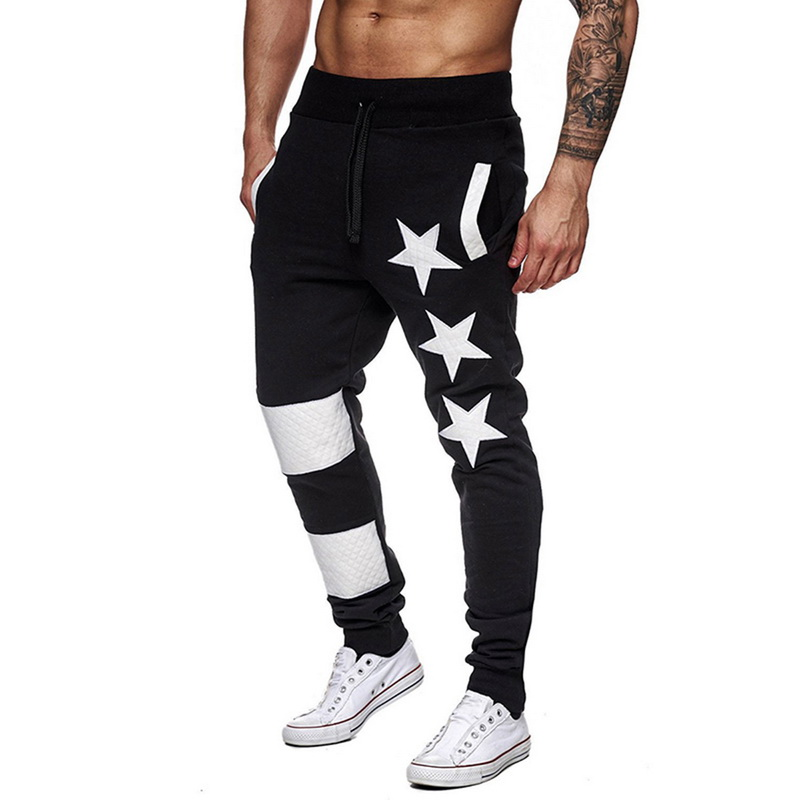 New Men Print Sport Sweatpant Casual Striped Patchwork Joggers Trouser Fashion Hip Hop Streetwear Pant Male Gyms Pantalon Homme