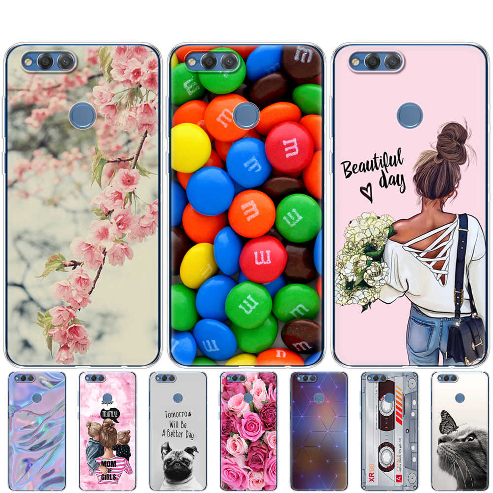 cover phone case for huawei honor 7X soft tpu silicon back cover 360 full protective printing Honor 7x transparent clear coque