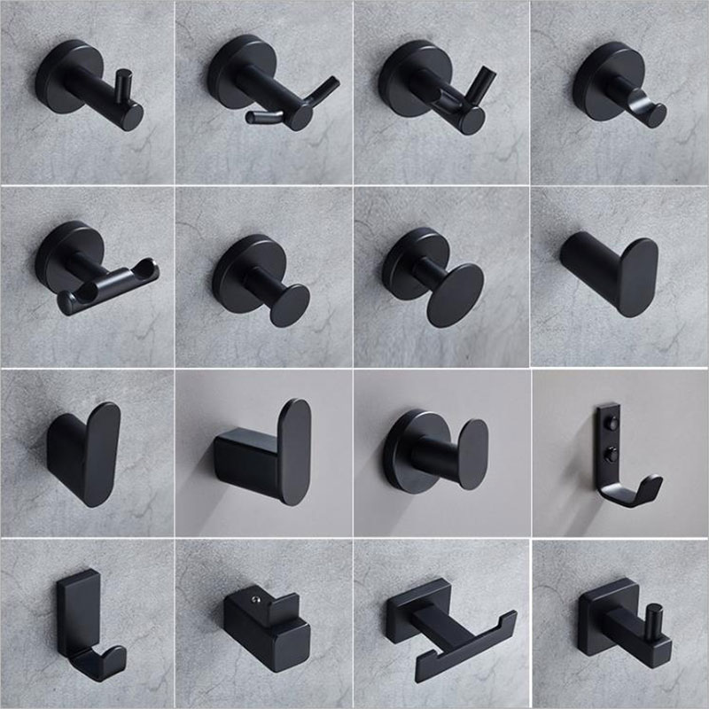 304 Stainless Steel Clothes Hooks Black, Bathroom Door Back Wall Coat Single Hook Towel Hooks For Bathroom, Kitchen, Office
