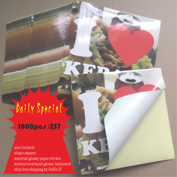 3x3inch glossy paper sticker printing custom for full color logo printing