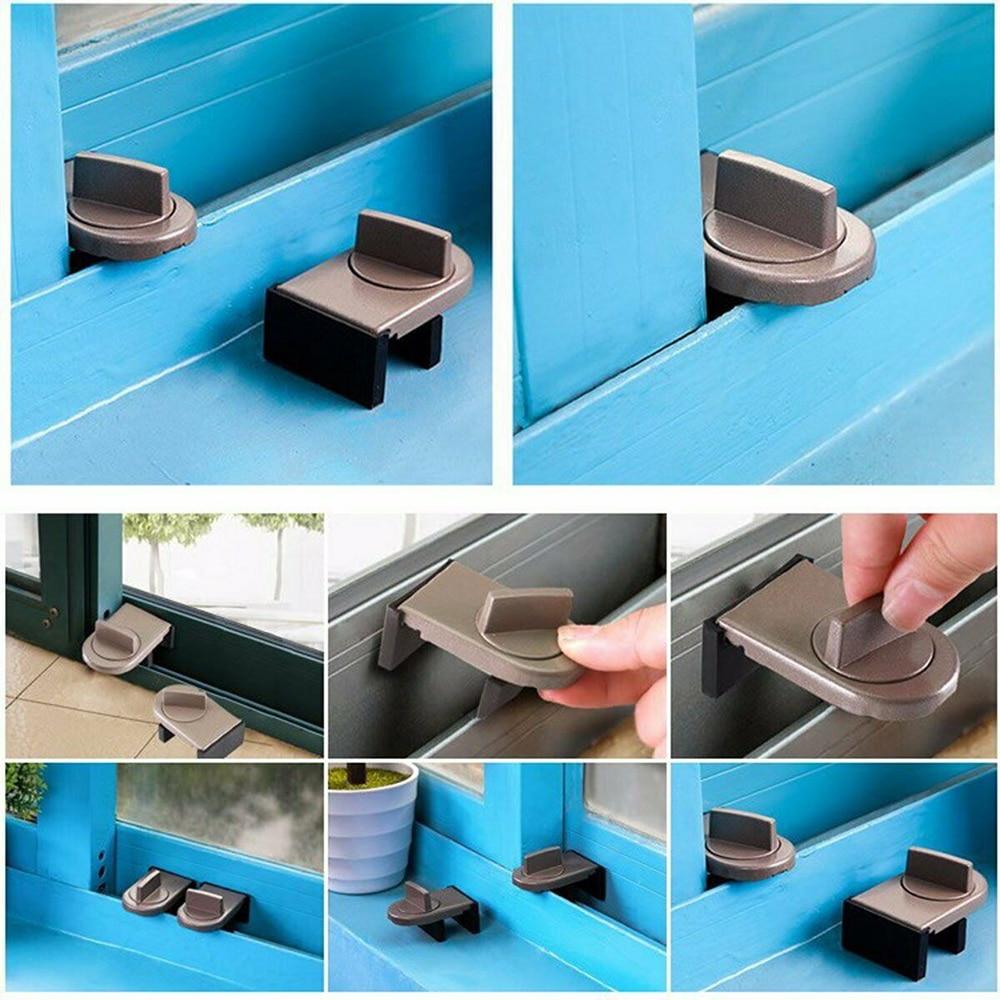 Restrictor Door Drawer Safe Sliding Window Stopper Safety Catch Kids Child Security Sash Lock Iron & Rubber For Children Safety