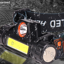 Headlamp Sensor Working-Light Waterproof Rechargeable Built-In-Usb Cob Led Xp-G q5 18650 Battery